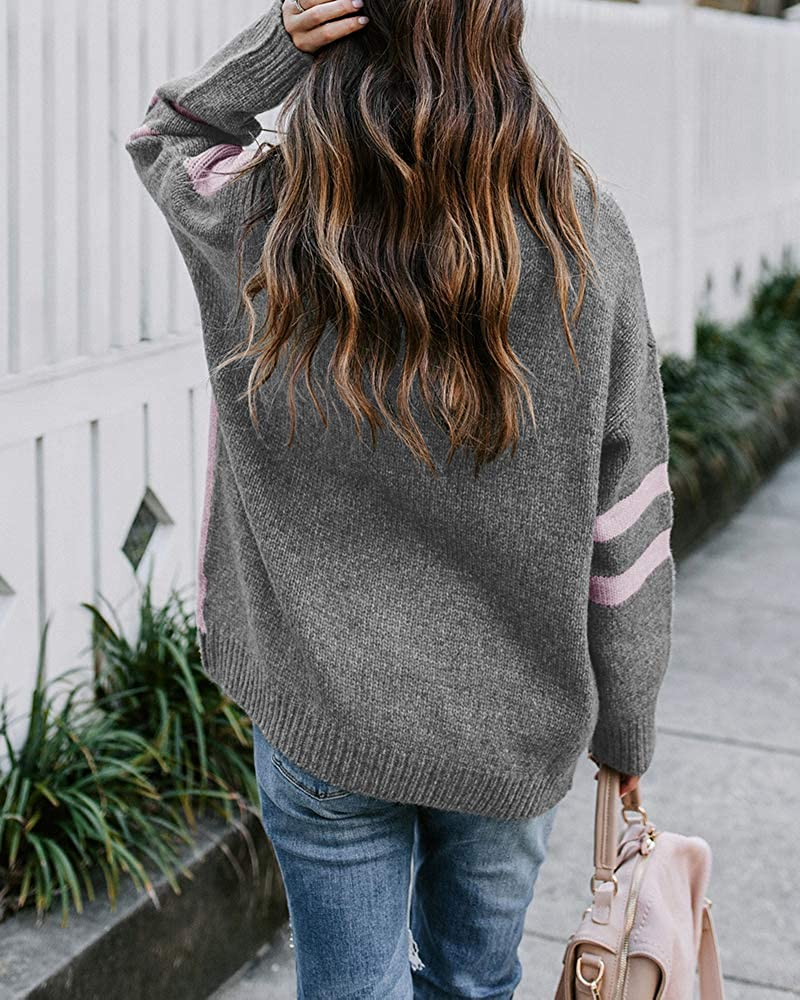 Tutorutor Womens Long Sleeve Color Block Crew Neck Sweaters Oversized Striped Chunky Knit Pullover Fall Jumper Tops