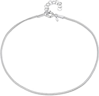 Amberta 925 Sterling Silver Adjustable Anklet - Classic Chain Ankle Bracelets - 22 to 26 cm - Flexible Fit