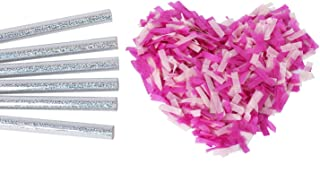 Gender Reveal Confetti Wands Pink 6Pack Biodegradable Tissue Paper Confetti Flick Flutter Sticks for Baby Girl Shower Pregnancy Announcement Party Supplies Decoration - Pink 14inch