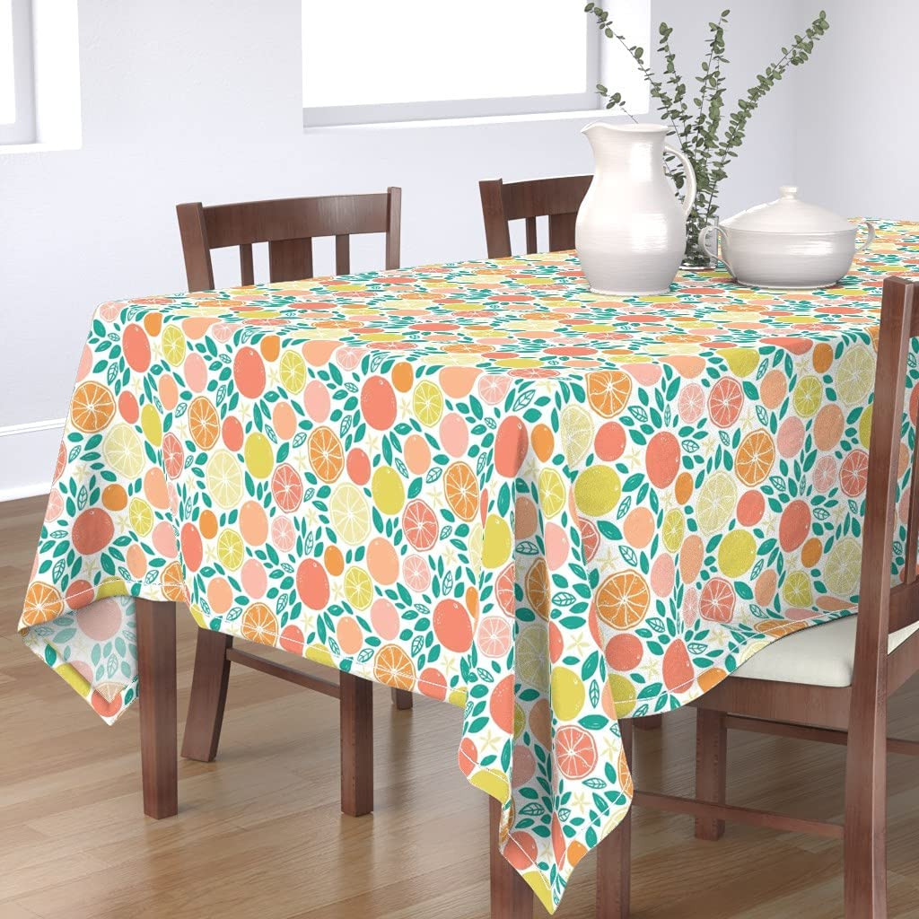 Roostery Spoonflower Tablecloth Citrus Pop Green Pri Genuine Pink Fruit Ranking TOP1