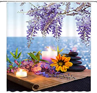 AMNYSF Spa Fabric Shower Curtain Massage Stones with Candles Daisy Wisteria Flowers Ocean Water Purple Blue Decor Bathroom Curtains Waterproof Polyester with Hooks 70x70 Inch
