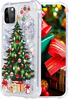 Flocute Glitter Case for iPhone 11 Pro Max Glitter Christmas Case Bling Sparkle Floating Liquid Soft TPU Cushion Luxury Fashion Girly Women Cute Phone Case (Christmas Tree)