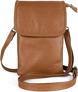 befen Echtleder Damen Umhängetasche Handtaschen, Kleine Handy Umhängetasche für Damen mit langem Gurt und Schlüsselring pa...