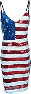 Spaghetti Strap Sleeveless USA American Flag Patriotic Sequin Dress