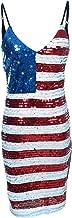 Anna-Kaci Spaghetti Strap Sleeveless USA American Flag Patriotic Sequin Dress