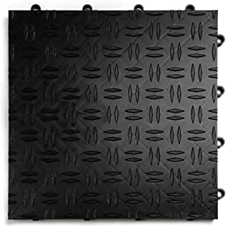 GarageTrac Diamond, Durable Interlocking Modular Garage Flooring Tile (48 Pack), Black