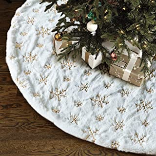 Christmas Tree Skirt - 48 inches Large White Luxury Faux Fur Tree Skirt Christmas Decorations Holiday Thick Plush Tree Xmas Ornaments (White/Gold)