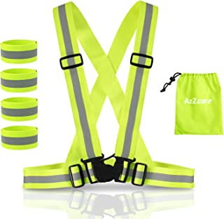 A2ZCARE Reflective Running Vest with Reflective Wristbands | High Visibility & Ultralight Safety Gear for Running, Walking, Cycling - Mesh Carry Bag