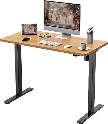 FLEXISPOT 電動式スタンディングデスク(幅120×奥行60) 昇降デスク 高さ調節デスク パソコンデスク 人間工学 ゲーミングデスク EG1 セット(足黒+天板メイプル)