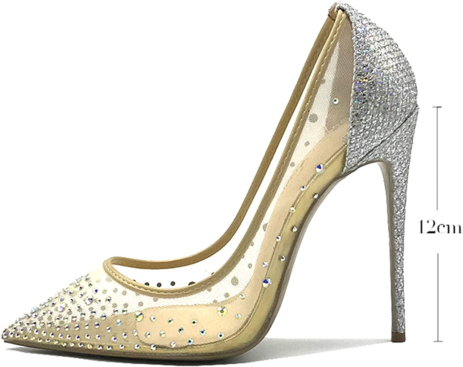 Carlos Foushee Women Pointed Toe Heels Crystal Bling Fashion Silver shoes High Heels Pumps 12cm See Through Party Wedding shoes