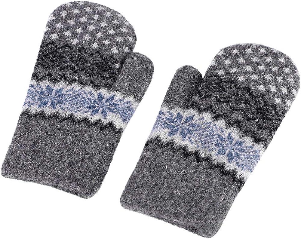 Women Knitted Gloves Winter Cold Weather Warmer Double Layer Polar Fleece Mitten