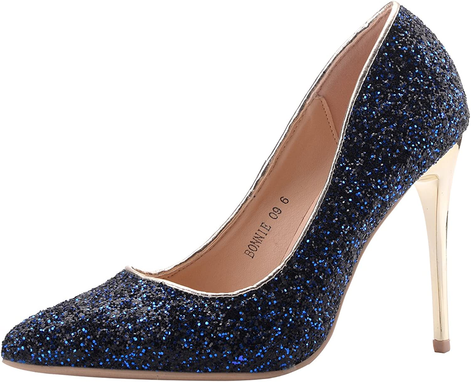 Mila Lady BONNIE09 Women Fashion Embellished Sparkles Contrast color Pointed Toe Pumps High Heel Stilettos Sexy Slip On Dress shoes