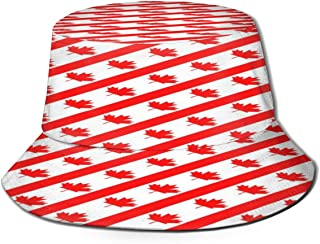 Fisherman Hat Canadian Symbol Maple Leaf Flag Bucket Hat Unisex 3D Printed Packable Bonnie Cap UV Protect Lightweight Sun Hat for Picnic Hunting Fishing Golf Hiking