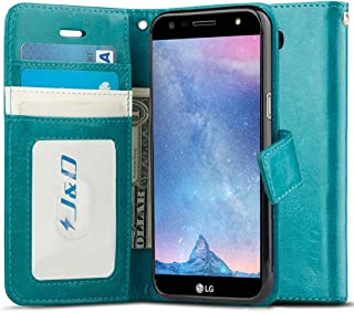 J&D Case Compatible for LG X Charge/LG X Power 2/LG Fiesta 2/LG Fiesta/LG V7 Case, [Wallet Stand] [Slim Fit] Heavy Duty Protective Shock Resistant Flip Cover Wallet Case for LG X Charge Wallet Case