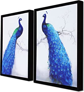 Painting Mantra Peacock Theme Framed Canvas Painting Set of 2 Wall Art Print -13x17 inch