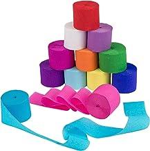 oshhni Decorações de papel crepe de 12 rolos em 12 cores - Serpentinas de festa de papel crepe de 82 pés para festa de ani...