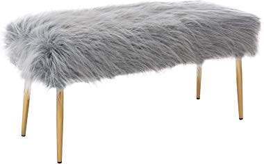 Faux Fur Vanity Bench Entryway Bench Furry Long Hair Grey Ottoman DM Furniture Fuzzy Bench with Metal Legs for Living Room, B
