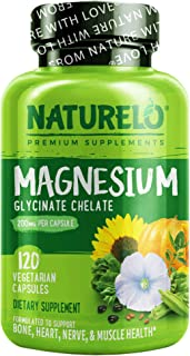 NATURELO Magnesium Glycinate Supplement - 200 mg Natural Glycinate Chelate with Organic Vegetables - Best for Sleep, Calm,...