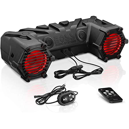 BOSS Audio Systems ATV30BRGB ATV UTV Weatherproof Sound System - 6.5 Inch Speakers, 1 Inch Tweeters, Built-in Amplifier, Bluetooth, Multi-Color Illumination, Easy Installation for 12 Volt Vehicles