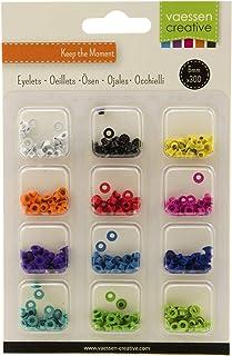 Vaessen creative 10824/02 Kit D'œillets 12 Couleurs x300 Brillant, Métal, Multicolore, 10 x 10 x 1,2 cm