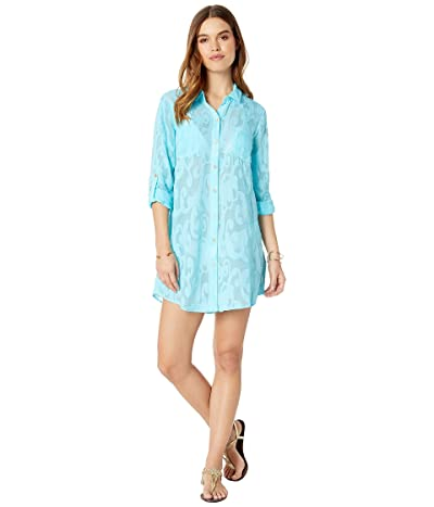 Lilly Pulitzer Natalie Cover-Up (Amalfi Blue Poly Crepe Swirl Clip) Women