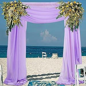 2 Panels Chiffon Wedding Arch Drapes 20ft Wedding Banquet Draping Fabric Lavender Ceremony Reception Drapery Voile Outdoor & Indoor Garden Arbor Decor Sheer Wedding Fabrics Drape