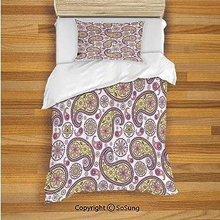 SoSung Paisley Kids Duvet Cover Set Twin Size, Ethnic Hippie Style Print Vivid Colors Art Design Bohemian Home Bedroom Decor 2 Piece Bedding Set with 1 Pillow Sham,Lilac Yellow