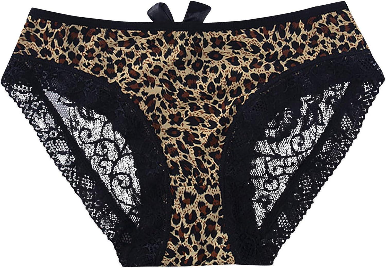 FUNEY Sexy Leopard Print Lace Trim Low Waist Briefs Spaghetti Strape Temptation Translucent Underwear for Women