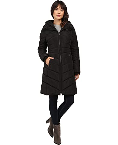Black double breasted quilted three quarter length coat