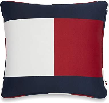 Tommy Hilfiger Flag Decorative Pillow, 18x18 inch, Red/White