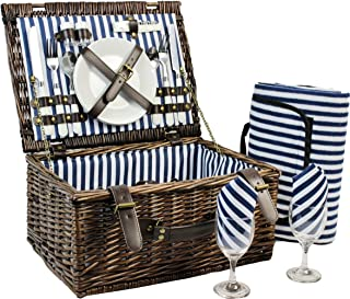 Wicker Picnic Basket for 2, Picnic Set for 2,Willow Hamper Service Gift Set for Camping and Outdoor Party - Best Gift for Mothers Day