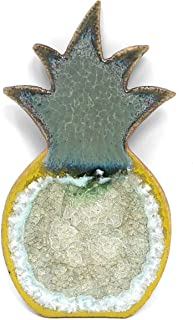 Dock 6 Pottery Pineapple Magnet with Fused Glass, Green/Yellow