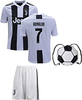 Cristiano Ronaldo Juventus #7 Youth Soccer Jersey Home Short Sleeve Shorts Kit Kids Gift Set