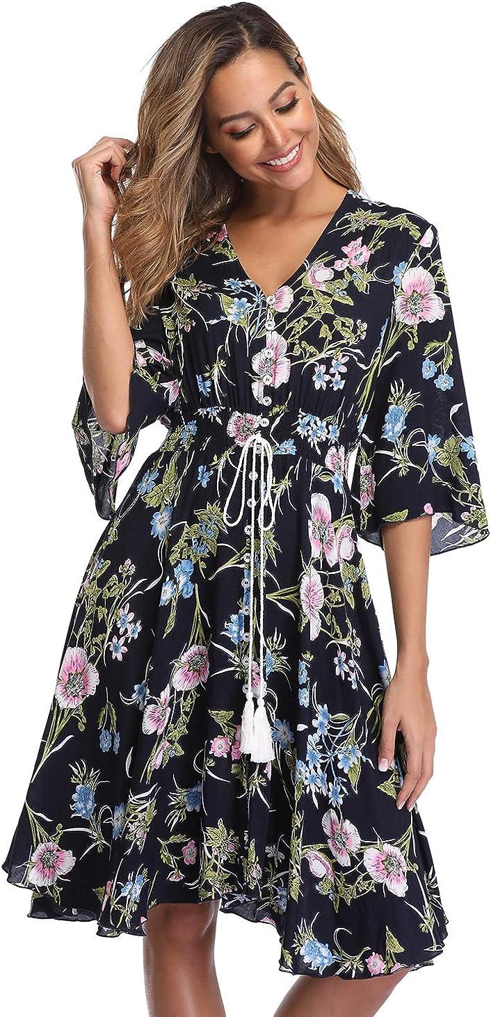 V Fashion Women's Floral Boho V-Neck Mini Button Up Summer Dress Beach Dress