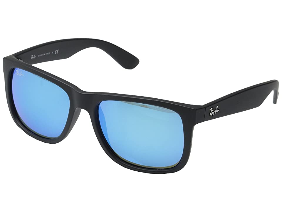 Ray-Ban RB4165 55mm (Black Rubberized/Green Blue Mirror) Fashion Sunglasses