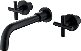 Matte Black Bathroom Sink Faucet,Double Handle Three Holes Wall Mounted Solid Brass Basin Mixer Tap, Rough in Valve Included