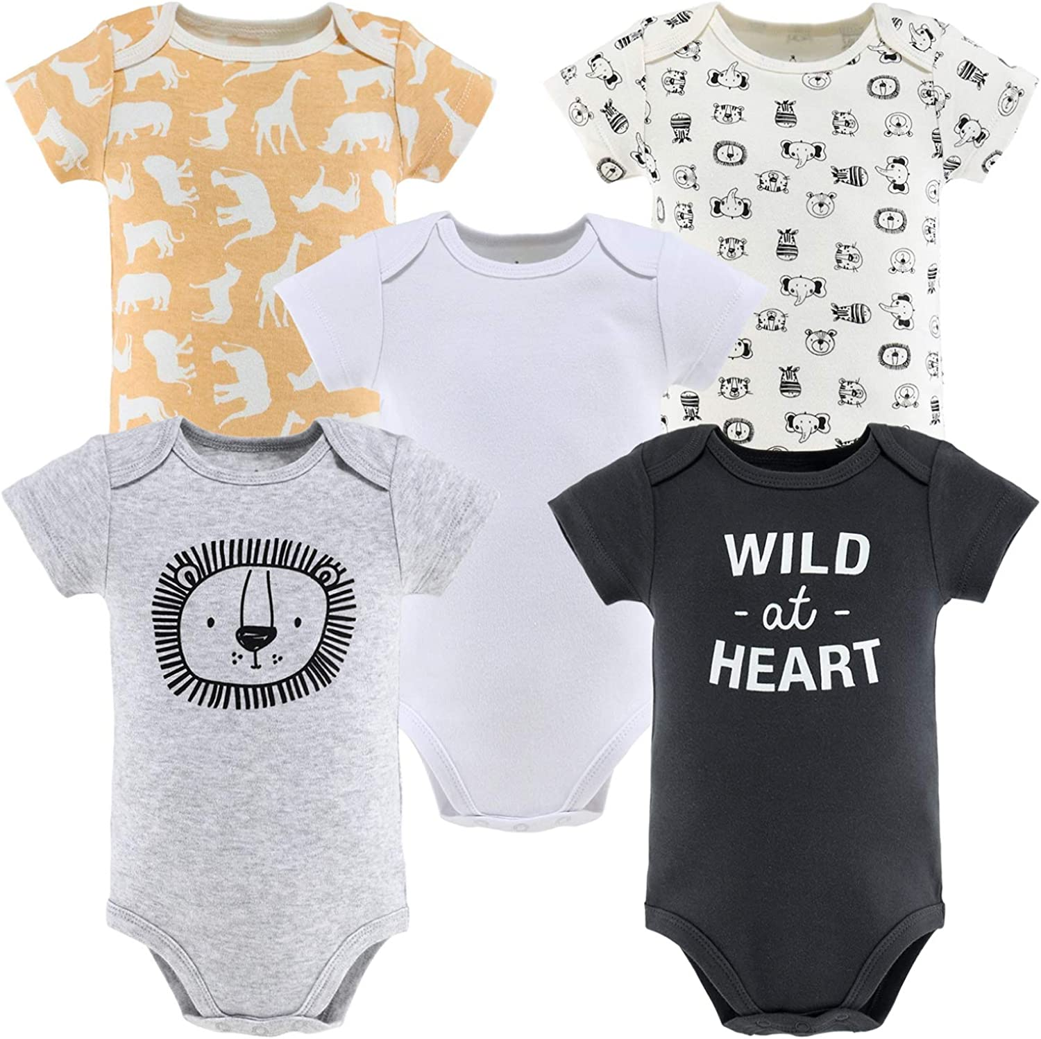 The Peanutshell Short Sleeve Baby Bodysuits for or Girl Boys Opening large release sale 5 popular Set