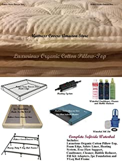 Queen Softside Waterbed With Organic Pillowtop and Free Flow Mattress