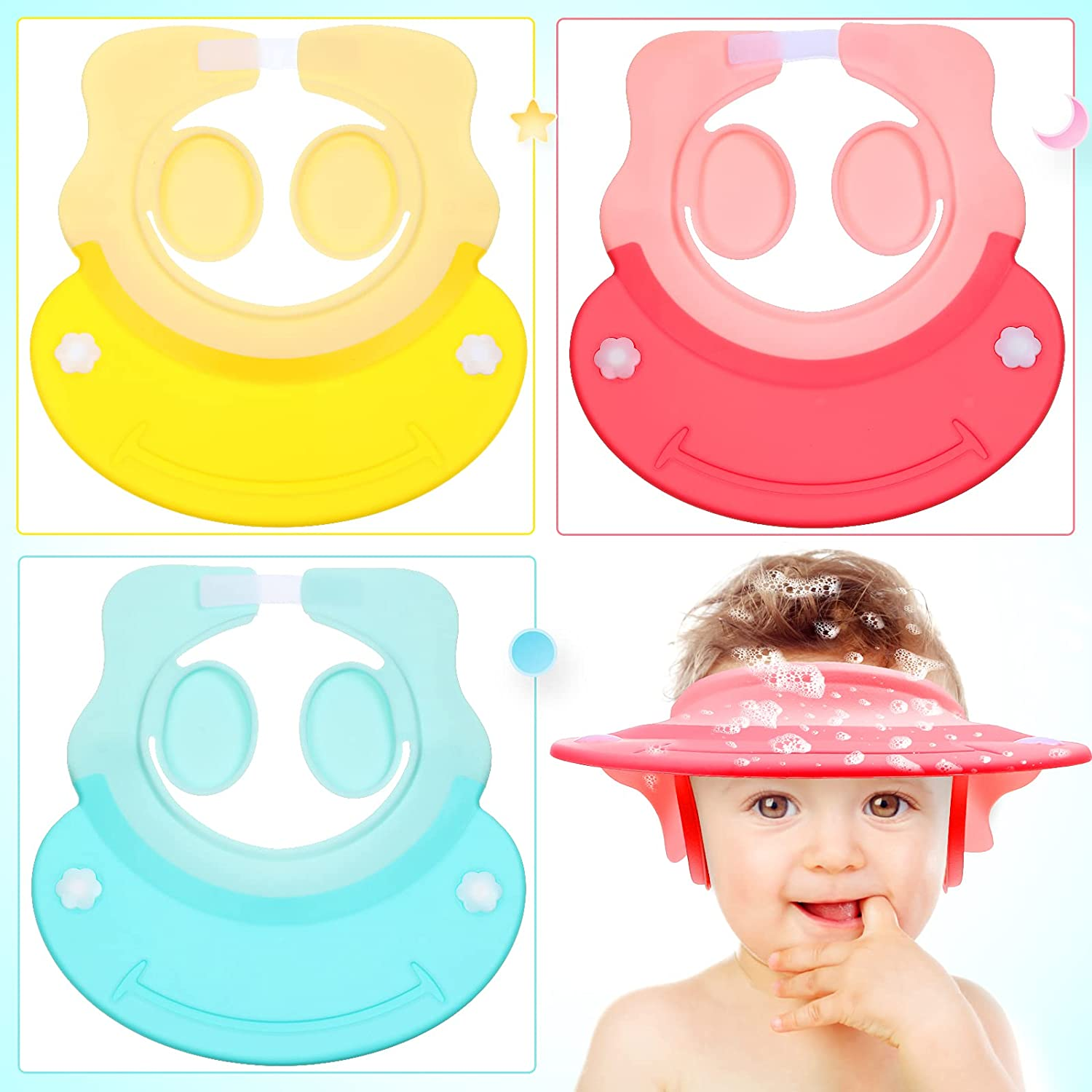 3 Pieces Baby Shower Cap Baby Bath Rinse Cup Adjustable Children Shower Visor Silicone Shampoo Bath Cap Protect Eye Ear for Infants Toddlers Kids Children (Pink, Yellow, Blue)