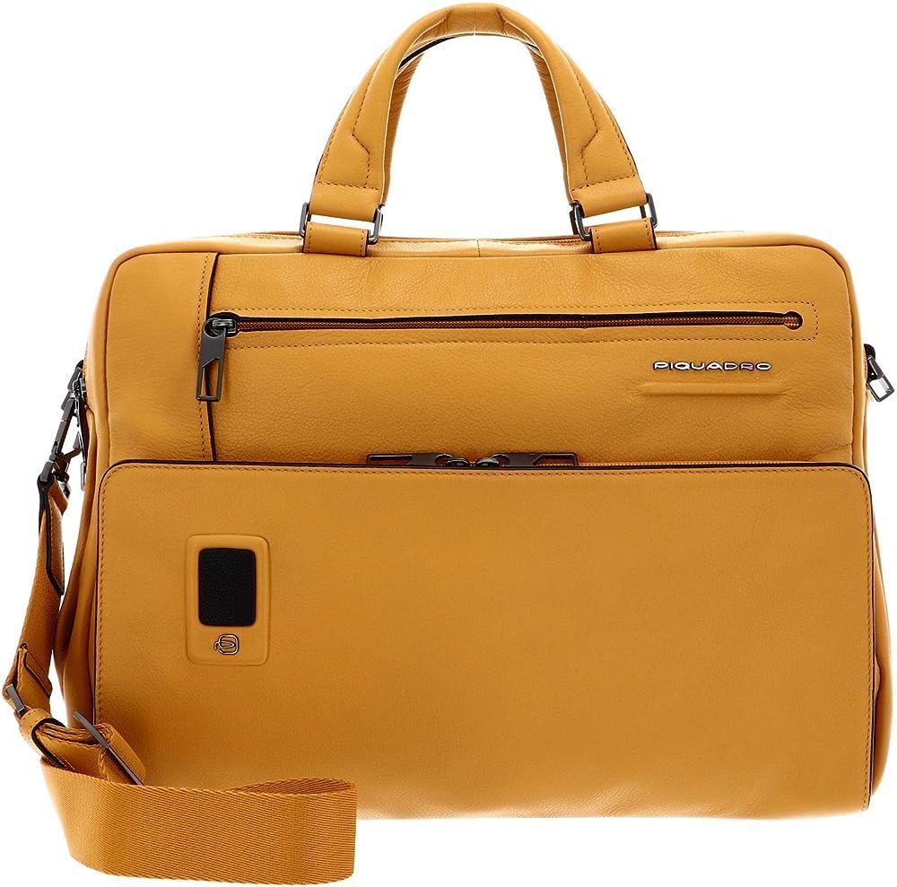 Piquadro, cartella, borsa porta pc portatile,in vera pelle scomparti  imbottiti per laptop e tablet CA5108AO-G