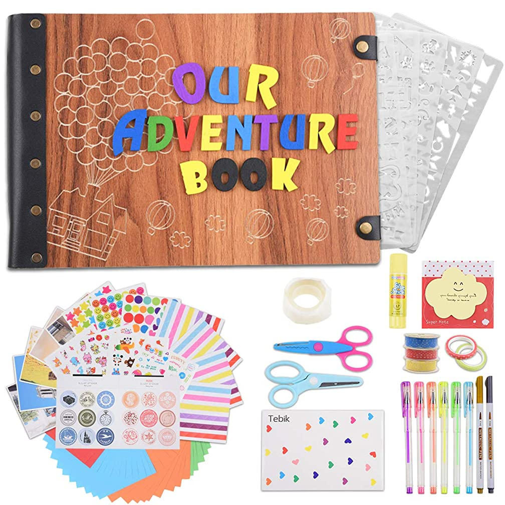 Tebik Photo Album Scrapbook, Our Adventure Book with 3D Wood Letters Cover Movie Up DIY Handmade Photo Album with 50 Sheets/100 Pages,Abundant Accessories for Anniversary Valentines Wedding Travelling