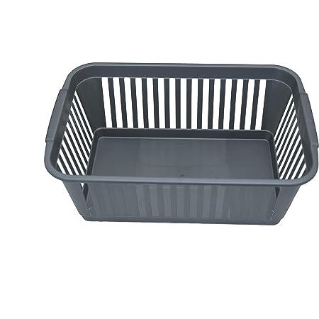 Panier de rangement pratique en plastique idéal pour salle de bain, chambre et cuisine - 25 cm - Argenté