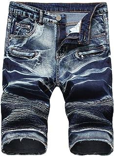 a9394dfdfbe7 RAISINGTOP Men Capri Jeans Shorts Casual Lounge Slim Fit Zipper Front  Straight Denim Vintage Style Pants