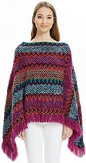 Ferand Poncho Suéter Multicolor Boho Mexicano a Rayas para Damas