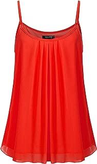 Women's Sleeveless Pleated Chiffon Layered Cami Tank Top Blouse with Plus Size