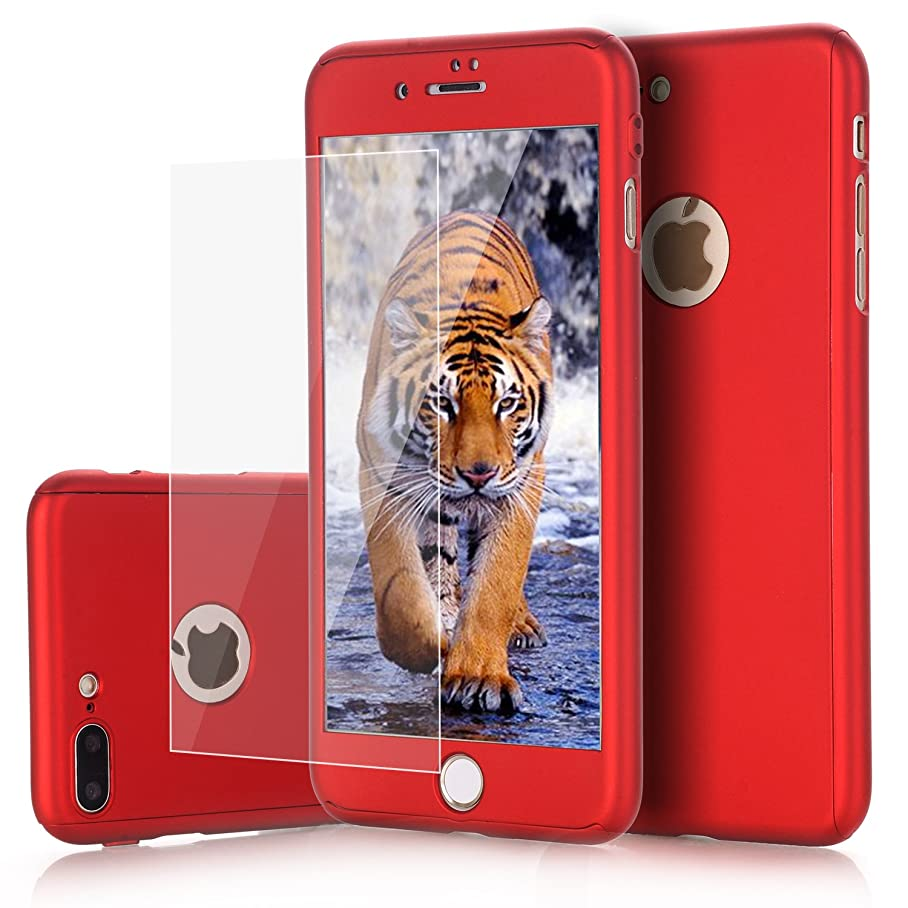 iPhone 8 Plus Case, 7 Plus Case, VPR 2 in 1 Ultra Thin Full Body Protection Hard Premium Luxury Cover [Slim] Shock Absorption PC case for Apple iPhone 8 Plus 2017/ iPhone 7 Plus 2016 (Red) q356374037