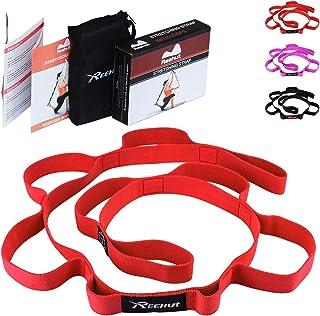 REEHUT Correa Yoga & Stretch Strap Cinturón Resistente de Estiramiento de Algodón con 10 Ojales Amplios para Yoga, Terapia Física, Fitness, con Libro de Instrucciones y Bolsa de Alamacenamiento