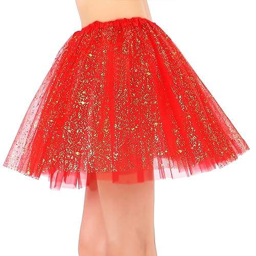 9c9d492b50b Siero Womens Sparkly 3 Layered Pastel Colored Fairy Princess Elastic Tutu  Tulle Skirt
