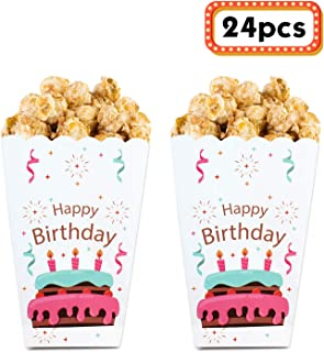 Happy Birthday Popcorn Boxes for Kids Children Birthday, Snack Box Cake Treat Gift Box- Birthday Party Decoration Favors- ...
