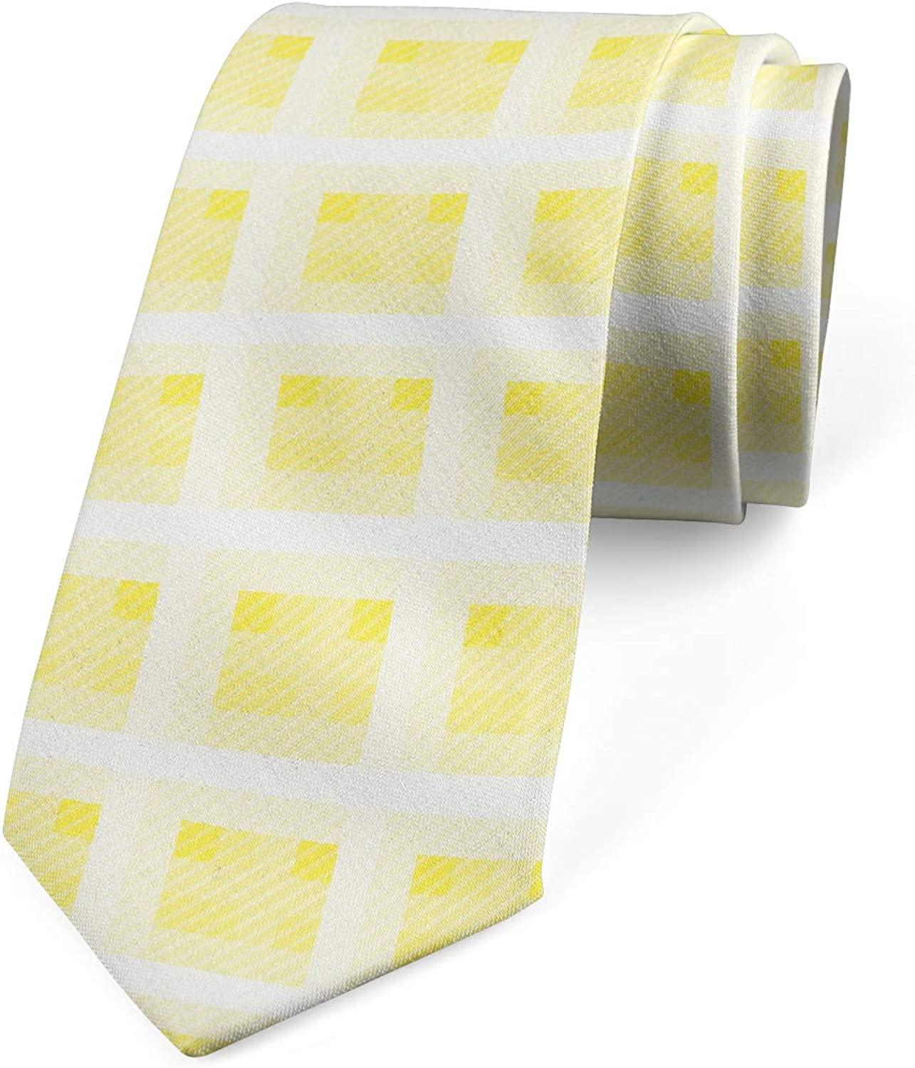 Ambesonne Abstract Necktie, Squares in Pastel Tones Simple Look Rhythmic Motifs Illustration, 3.7